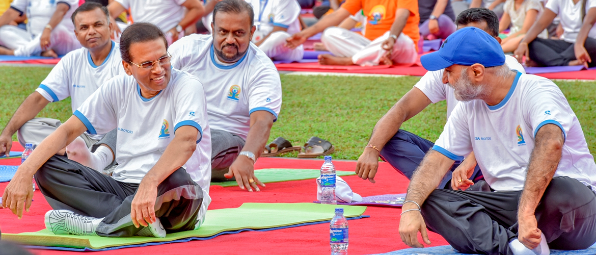 H.E.President Maithripala Sirisena Joins 3rd International Yoga Day Celebration in Colombo
