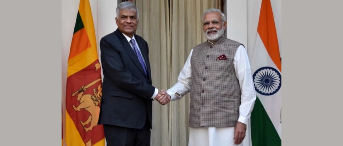 Hon'ble Prime Minister of Sri Lanka Mr.Ranil Wickremesinghe  is welcomed by Prime Minister Shri Narendra Modi in New Delhi