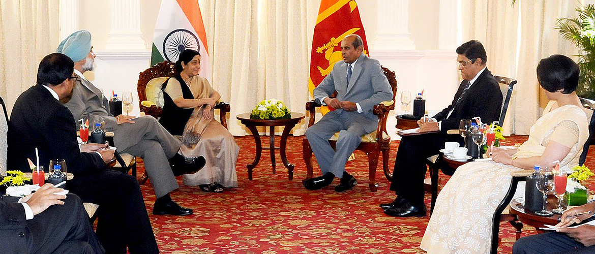 Meeting between the Hon'ble External Affairs Minister of India, Smt. Sushma Swaraj, and the Hon'ble Minister of Foreign Affairs of Sri Lanka, Shri Tilak Marapana