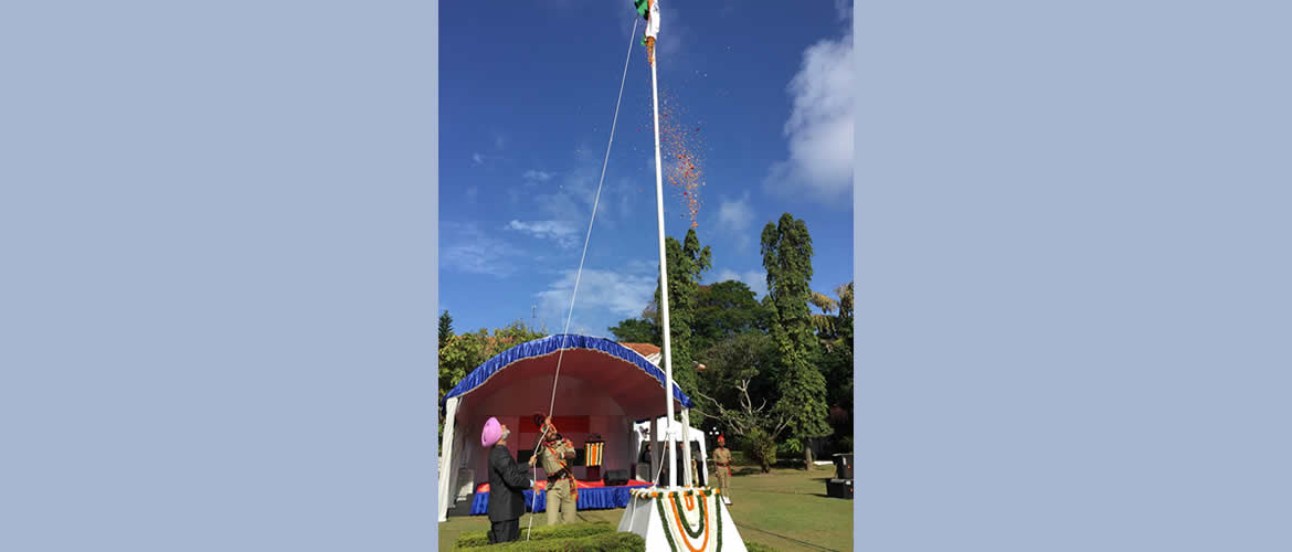 H.E. Shri Taranjit Singh Sandhu, High Commissioner of India unfurled the National Flag on the Independence Day of India
