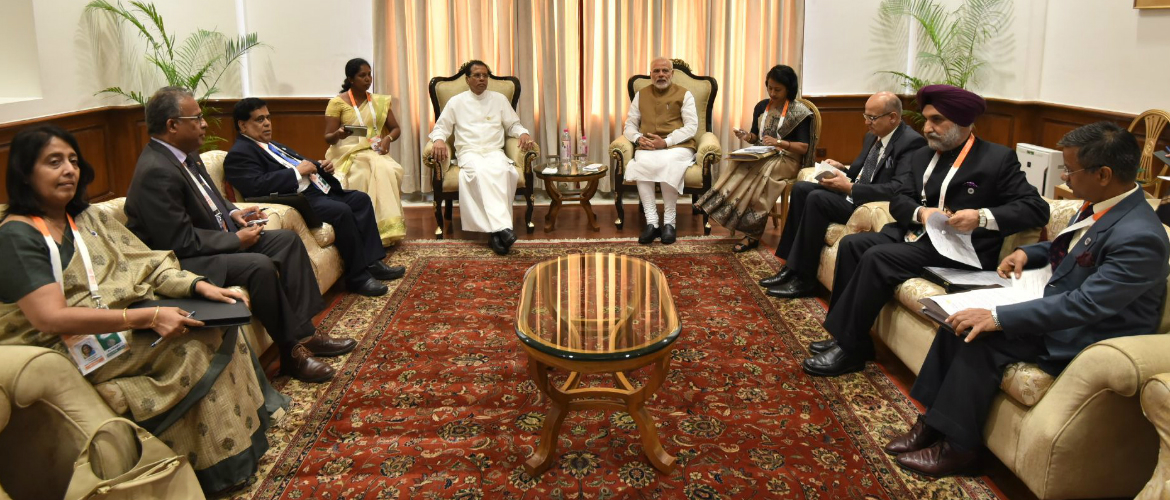 Meeting between Hon'ble Prime Minister of India, Shri Narendra Modi and H. E. President of Sri Lanka Mr. Maithripala Sirisena on the sidelines of the International Solar Alliance : New Delhi