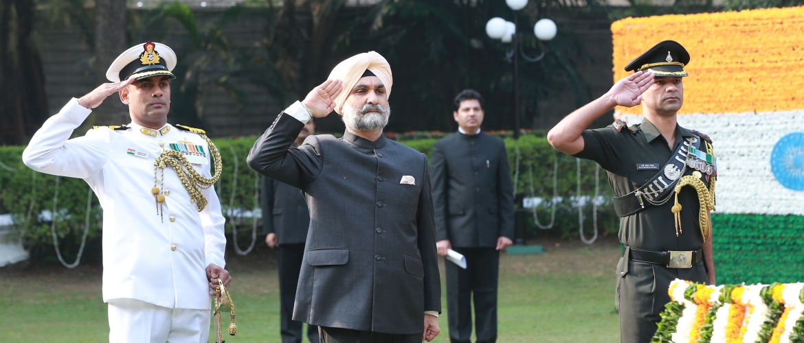 H.E. Shri Taranjit Singh Sandhu, High Commissioner of India unfurled the National Flag on the Republic Day of India - 26 January 2018