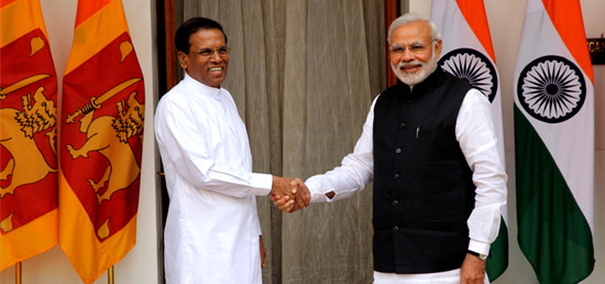Meeting between Hon'ble Prime Minister of India, Shri Narendra Modi and Hon'ble President of Sri Lanka Mr. Maithripala Sirisena : New Delhi