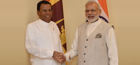 H.E. Maithripala Sirisena, President of Sri Lanka meets Hon'ble Narendra Modi, Prime Minister in Goa during BRICS Summit 2016
