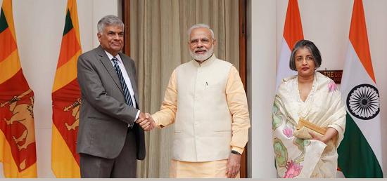 Hon'ble Prime Minister of India, Shri Narendra Modi meets Hon'ble Prime Minister of Sri Lanka, Mr. Ranil Wickremesinghe at Hyderabad House, New Delhi