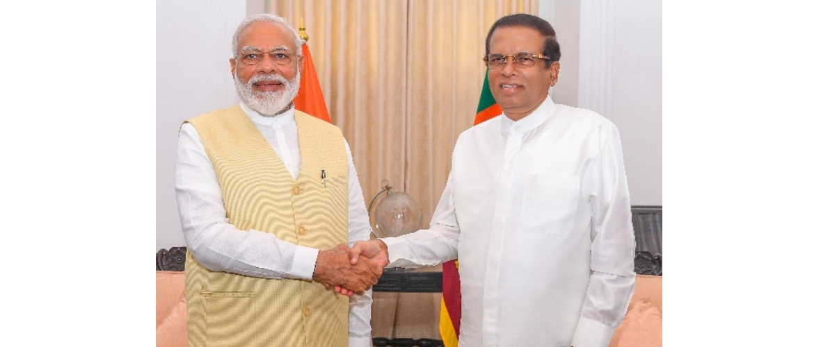 H.E. the President of Sri Lanka, Mr. Maithripala Sirisena, welcomed Hon'ble Prime Minister of India, Shri Narendra Modi, in Sri Lanka on June 9, 2019